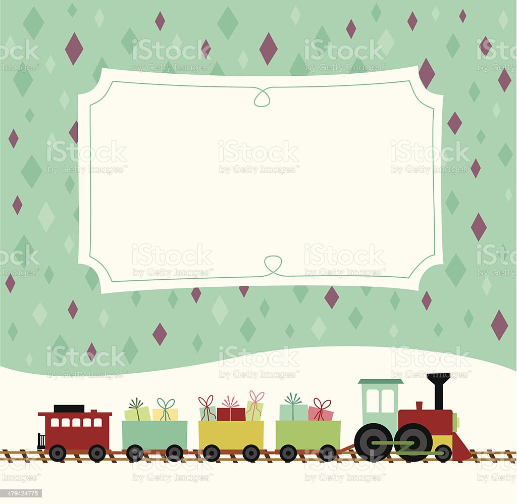 Toy train with presents and placard vector art illustration