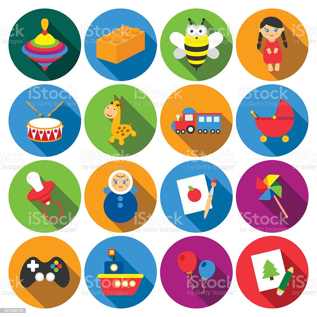Toys 16 flat icons set for web vector art illustration