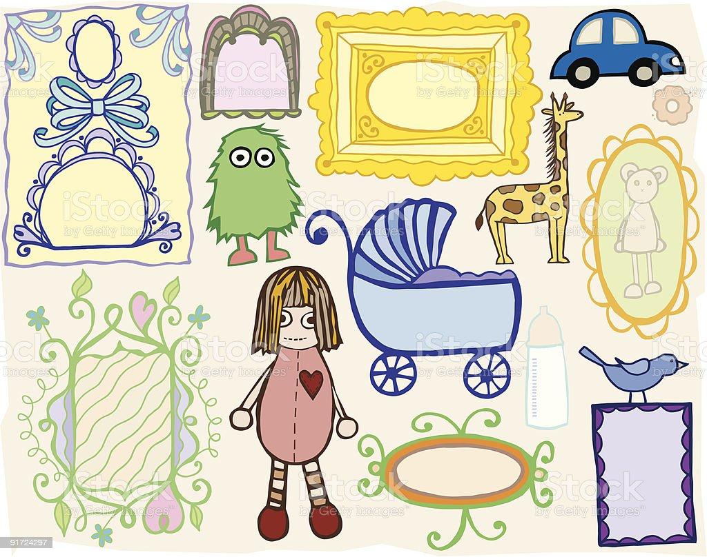 Toys and Frames vector art illustration