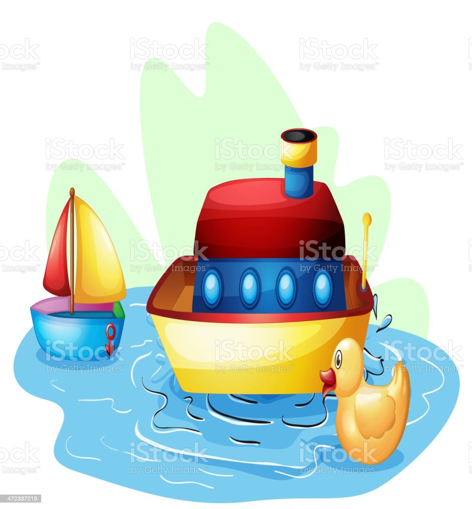 Toys at the pond vector art illustration