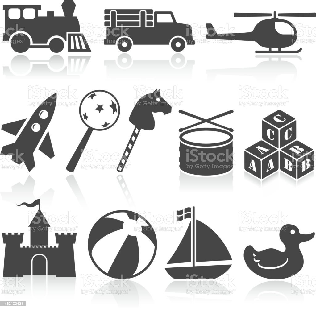 toys black and white royalty free vector icon set royalty-free stock vector art