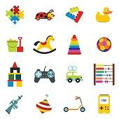 Toys flat icons set