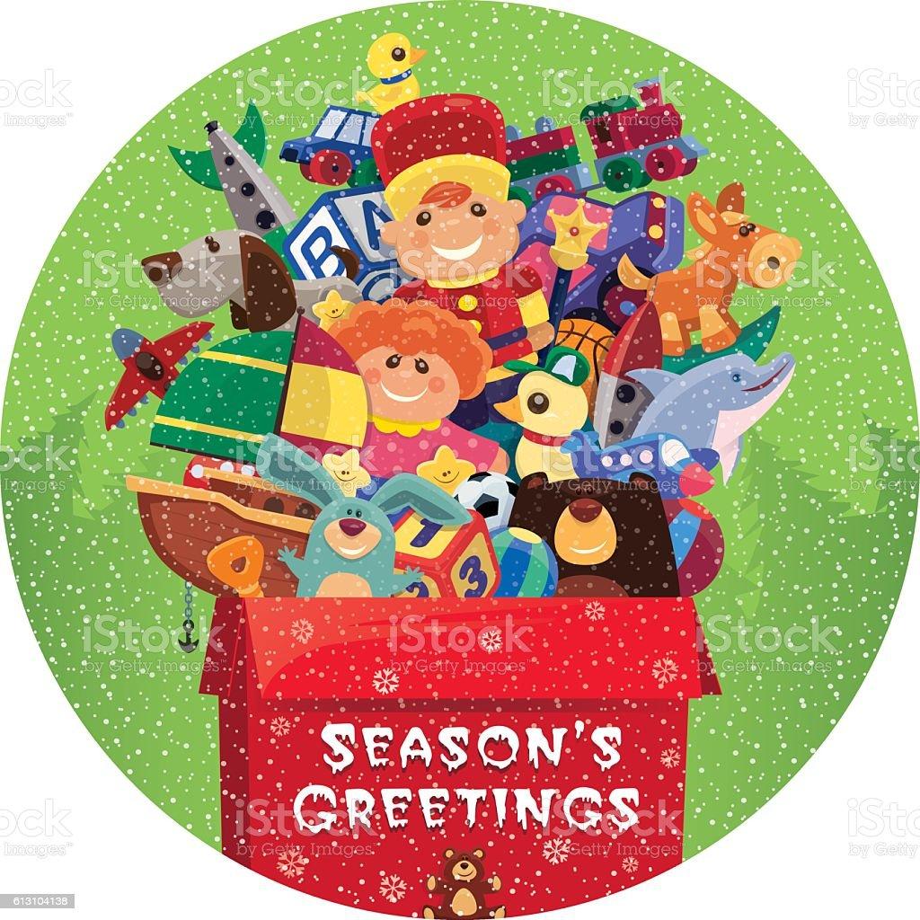 toys for season's greetings vector art illustration