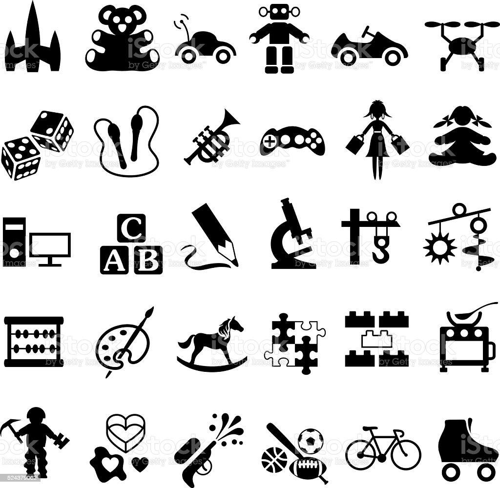 Toys Icon Set vector art illustration