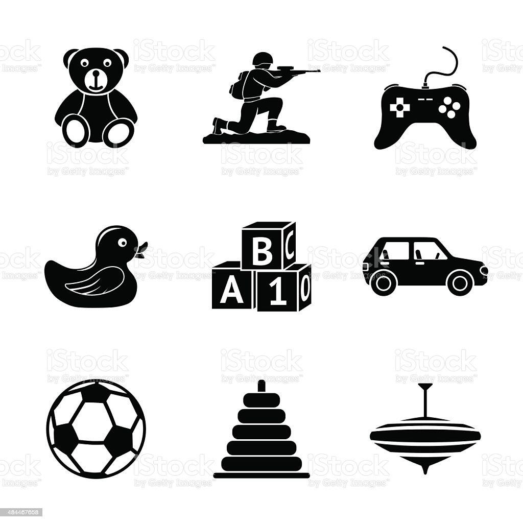 Toys icons set with - car, duck, bear, pyramid, ball vector art illustration