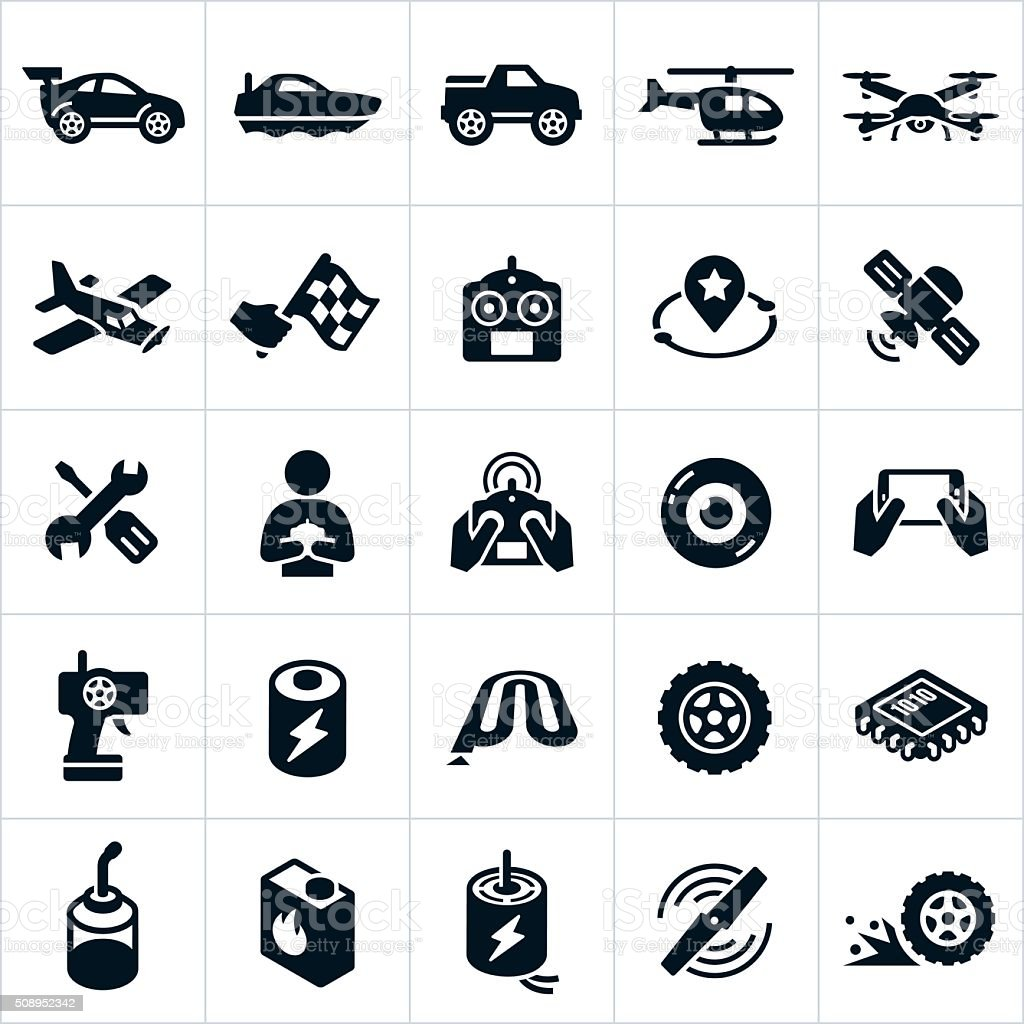 RC Toys Icons vector art illustration