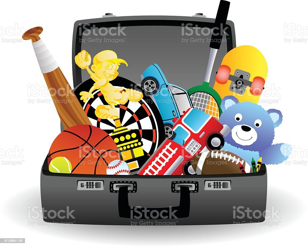 Toys in a case vector art illustration