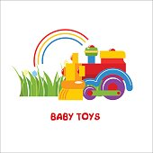 Toys kids. Vector sign, the sign for the toy store. Kids colorful the train toy.
