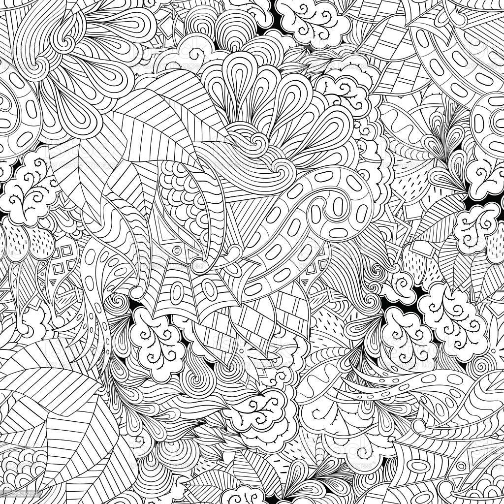 Tracery seamless pattern. Ethnic binary mehndi doodle texture design. Vector. vector art illustration