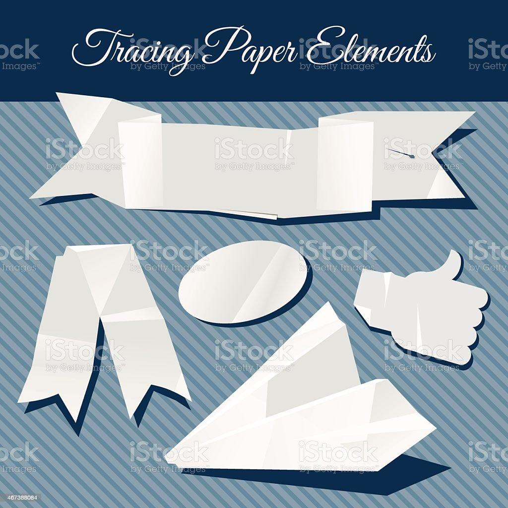 Tracing paper design elements transparent paper vector art illustration