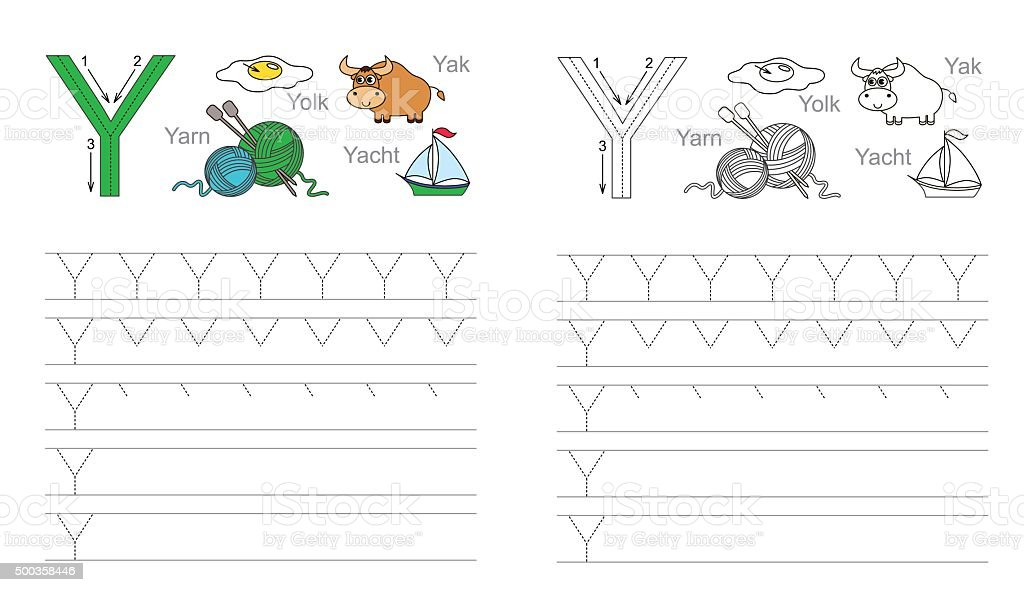 Tracing Worksheet For Letter Y stock vector art 500358446 | iStock