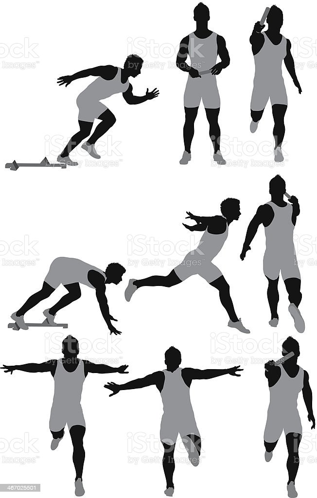 Track and field athlete in action royalty-free stock vector art