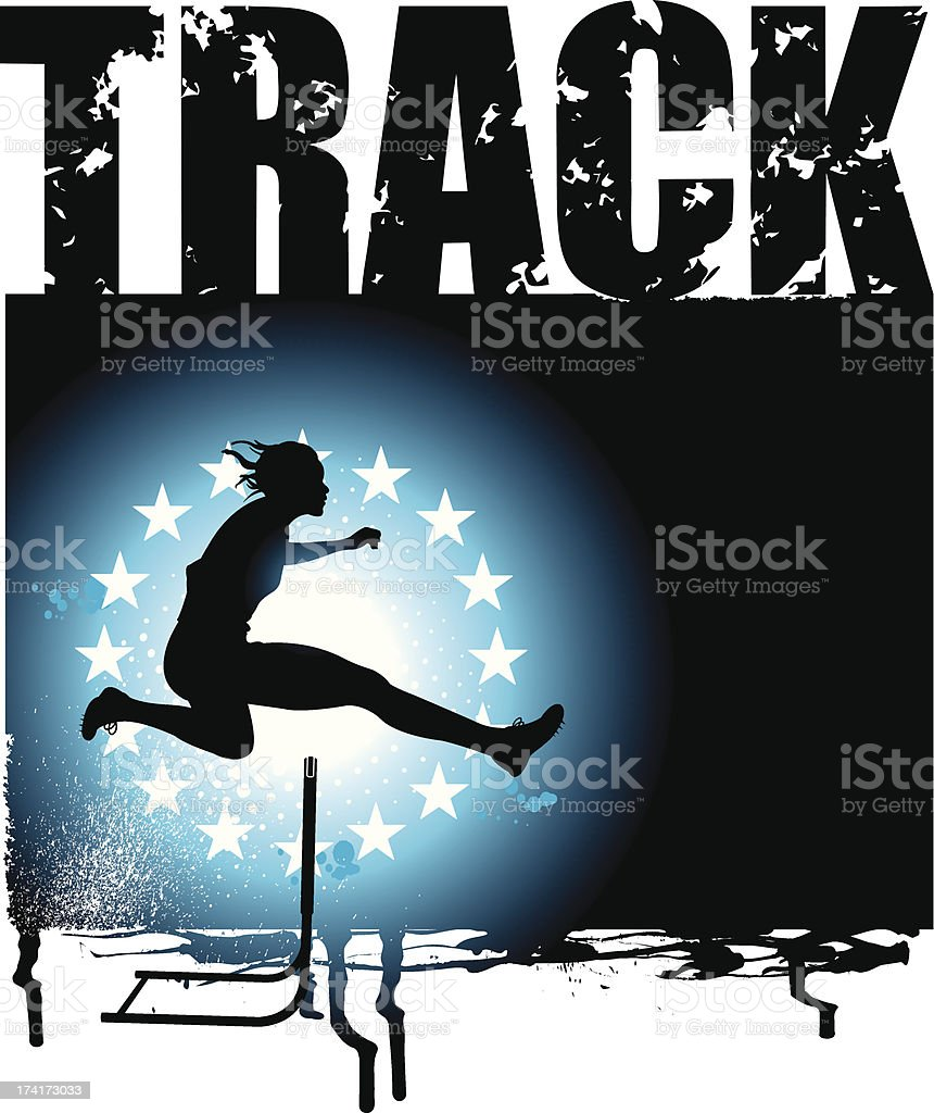 Track and Field - Girls Hurdles Grunge Background royalty-free stock vector art
