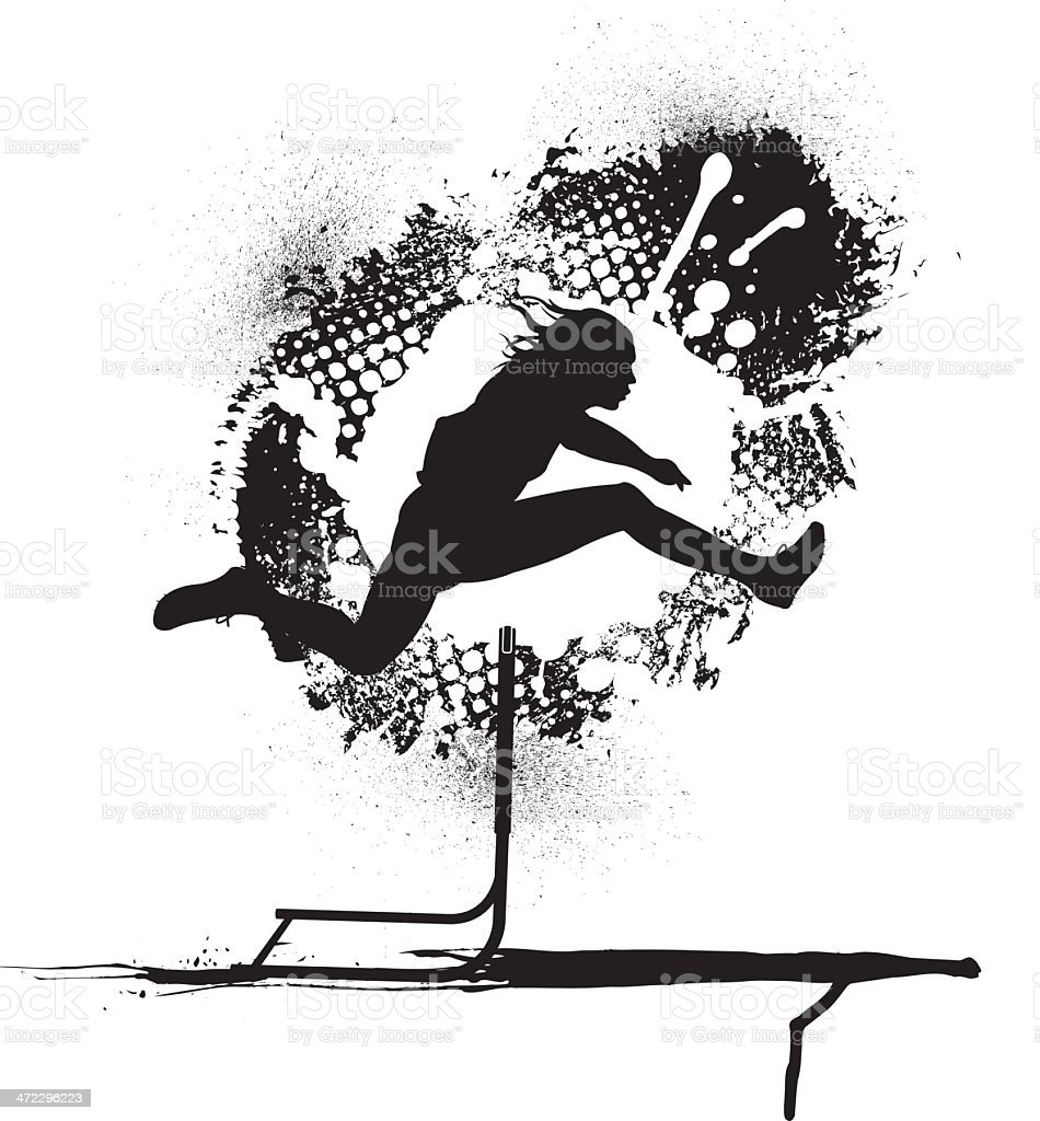 Track and Field Hurdler Grunge Graphic - Male royalty-free stock vector art