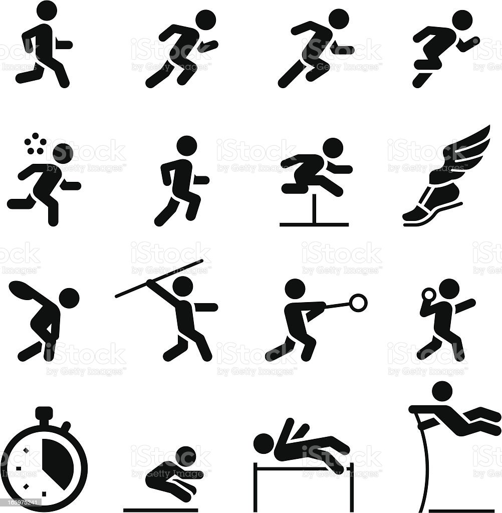 Track and Field Icons - Black Series vector art illustration