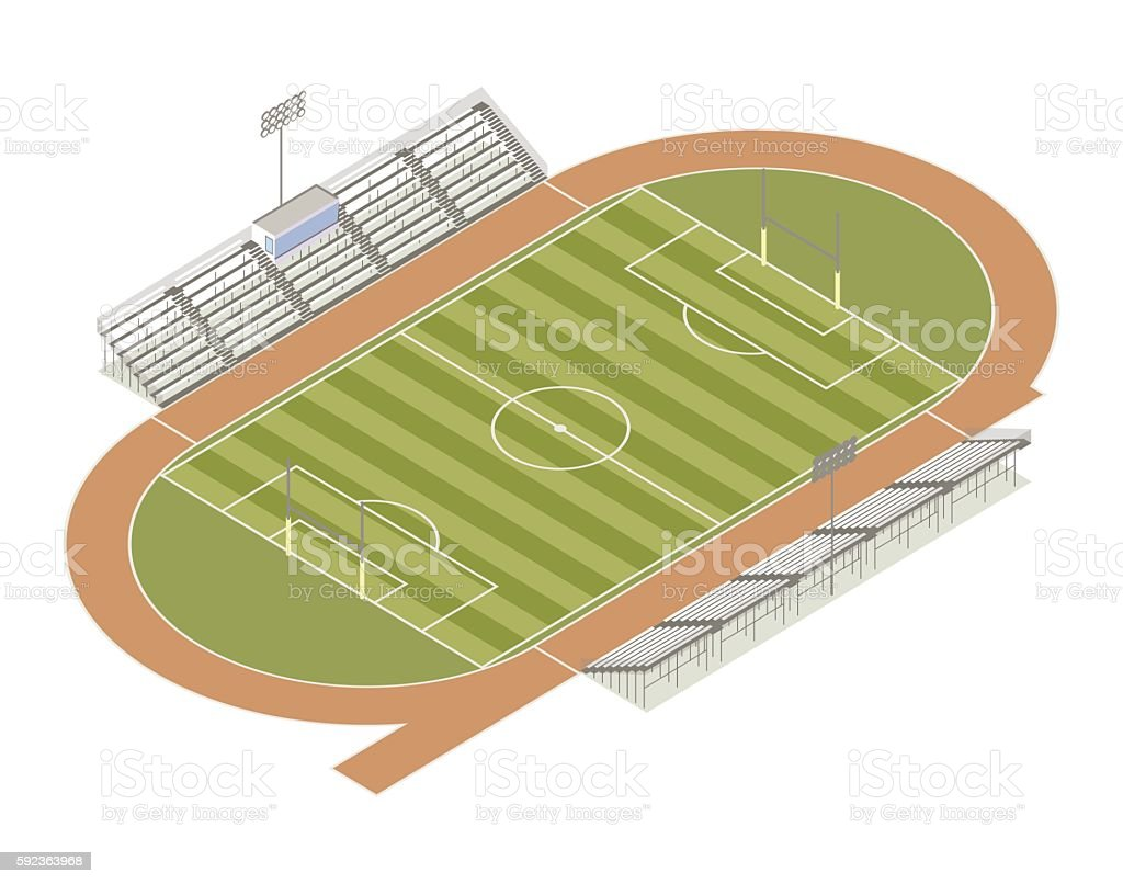 Track and field isometric illustration vector art illustration