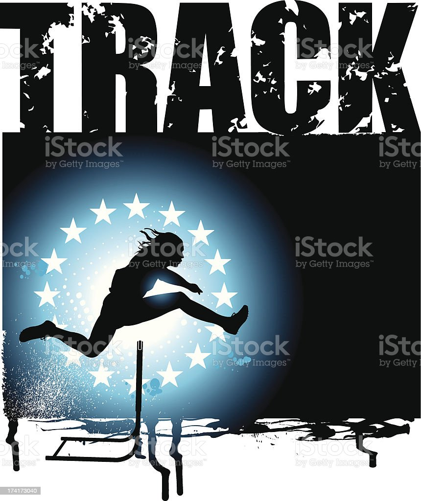 Track and Field - Men Hurdles Grunge Background vector art illustration
