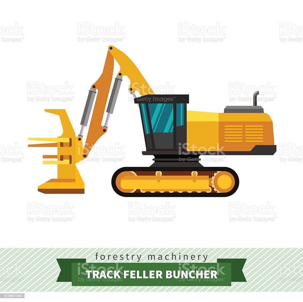 Track feller buncher vector art illustration