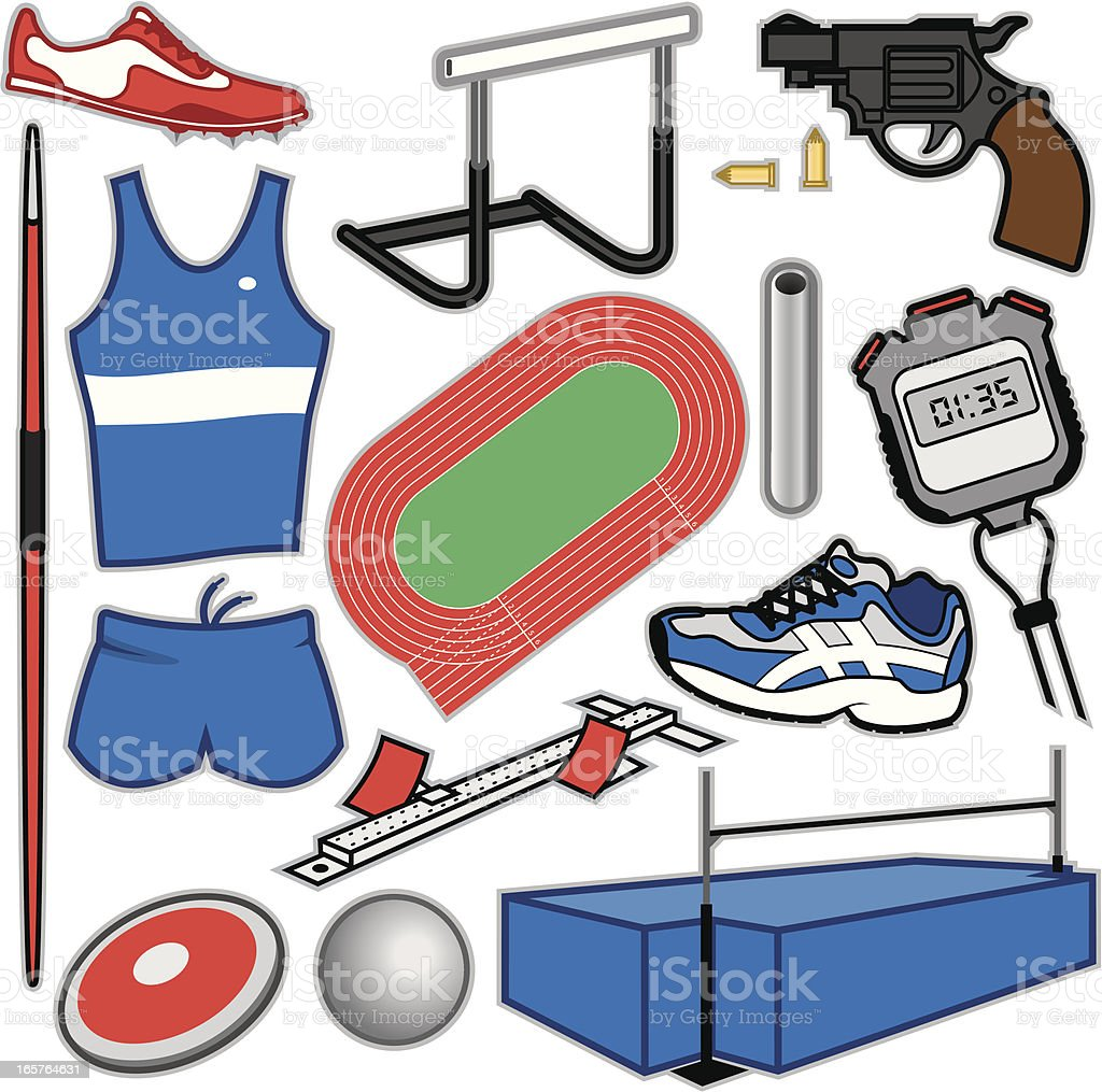 Track & Field Items royalty-free stock vector art