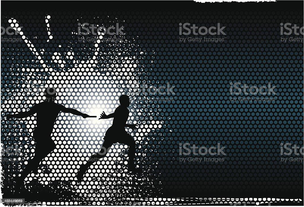 Track & Field Relay Race - Runners Background vector art illustration