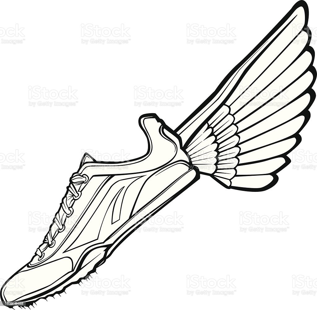 Track Shoe with Wing Vector Illustration royalty-free stock vector art