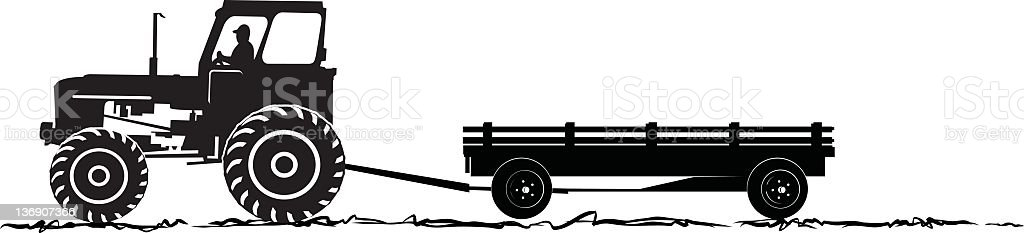 Tractor and Wagon Silhoeutte royalty-free stock vector art
