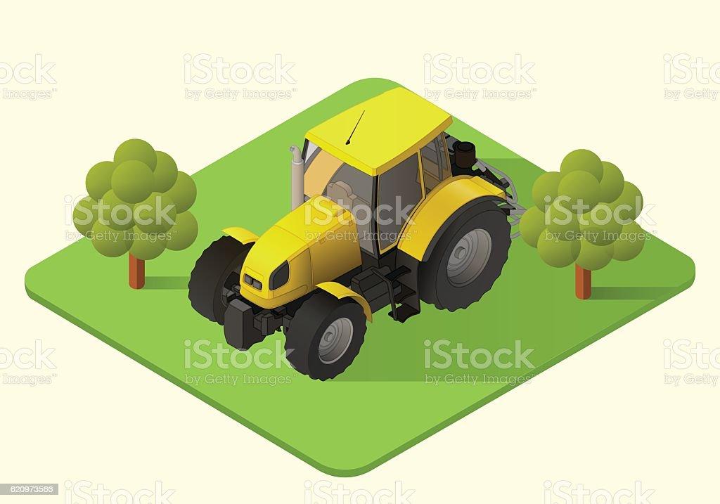 tractor farm machine vector art illustration