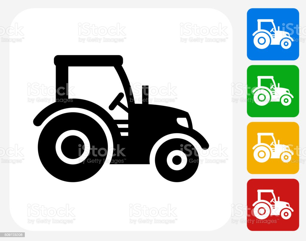 Tractor Icon Flat Graphic Design vector art illustration