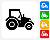 Tractor Icon Flat Graphic Design