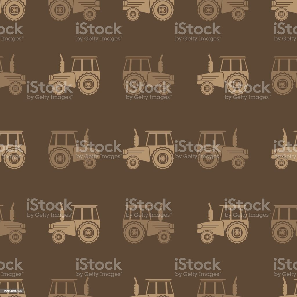 Tractor Icon Seamless Pattern for Farm vector art illustration