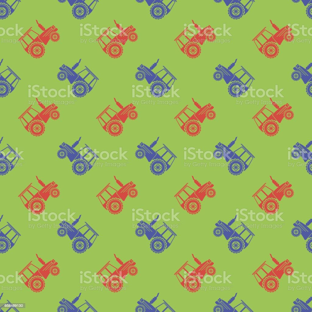 Tractor Icon Seamless Pattern vector art illustration