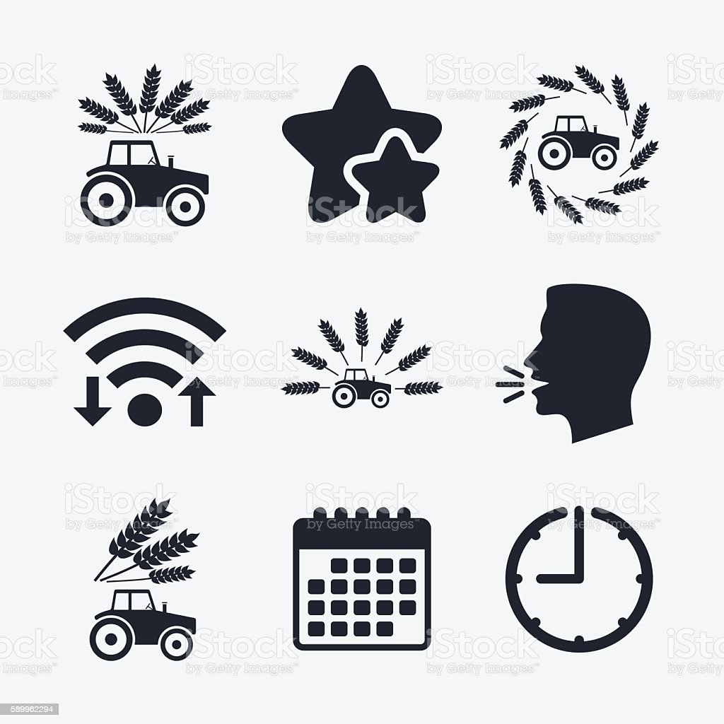 Tractor icons. Agricultural industry transport. vector art illustration