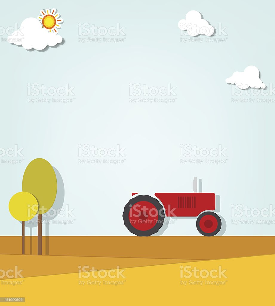 tractor in a field royalty-free stock vector art