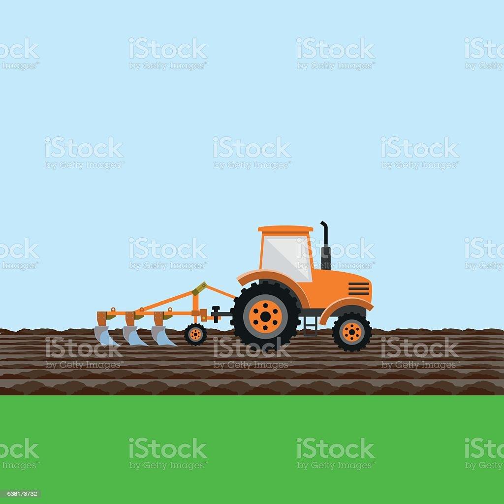Tractor on field vector art illustration