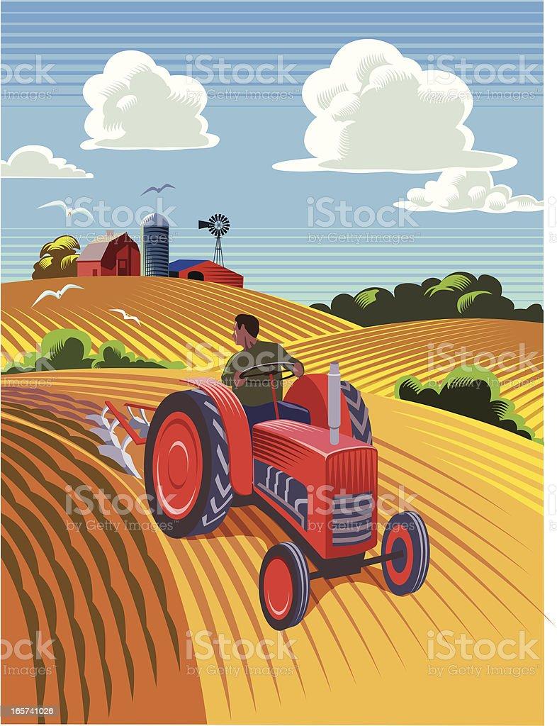 Tractor ploughing field vector art illustration