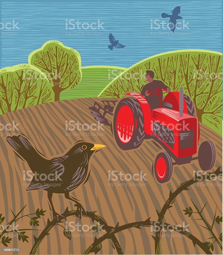 Tractor ploughing field with blackbirds vector art illustration