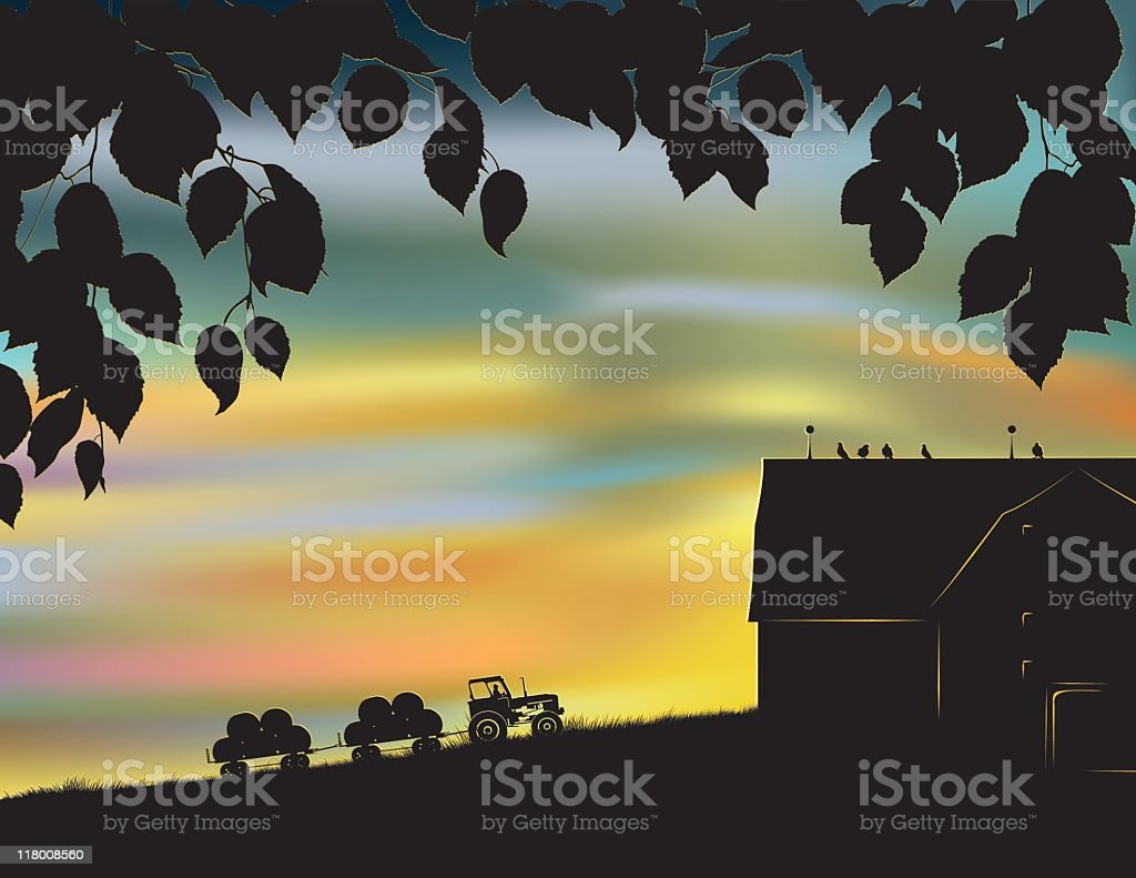 Tractor Pulling a Hay Wagon at Sunset royalty-free stock vector art