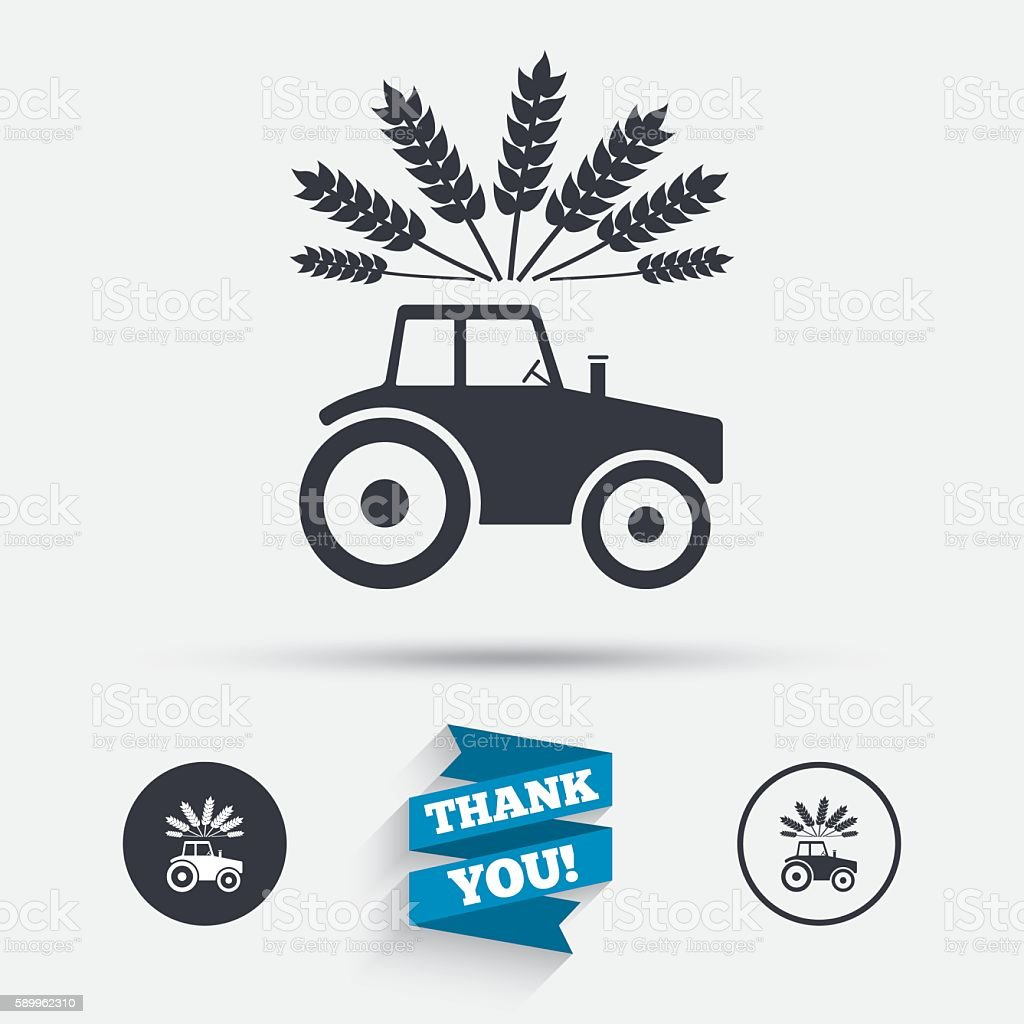 Tractor sign icon. Agricultural industry symbol. vector art illustration