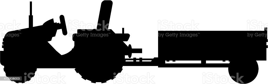 Tractor Towing Trailer Silhouette royalty-free stock vector art
