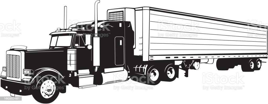 Tractor Trailer Truck Black and White royalty-free stock vector art