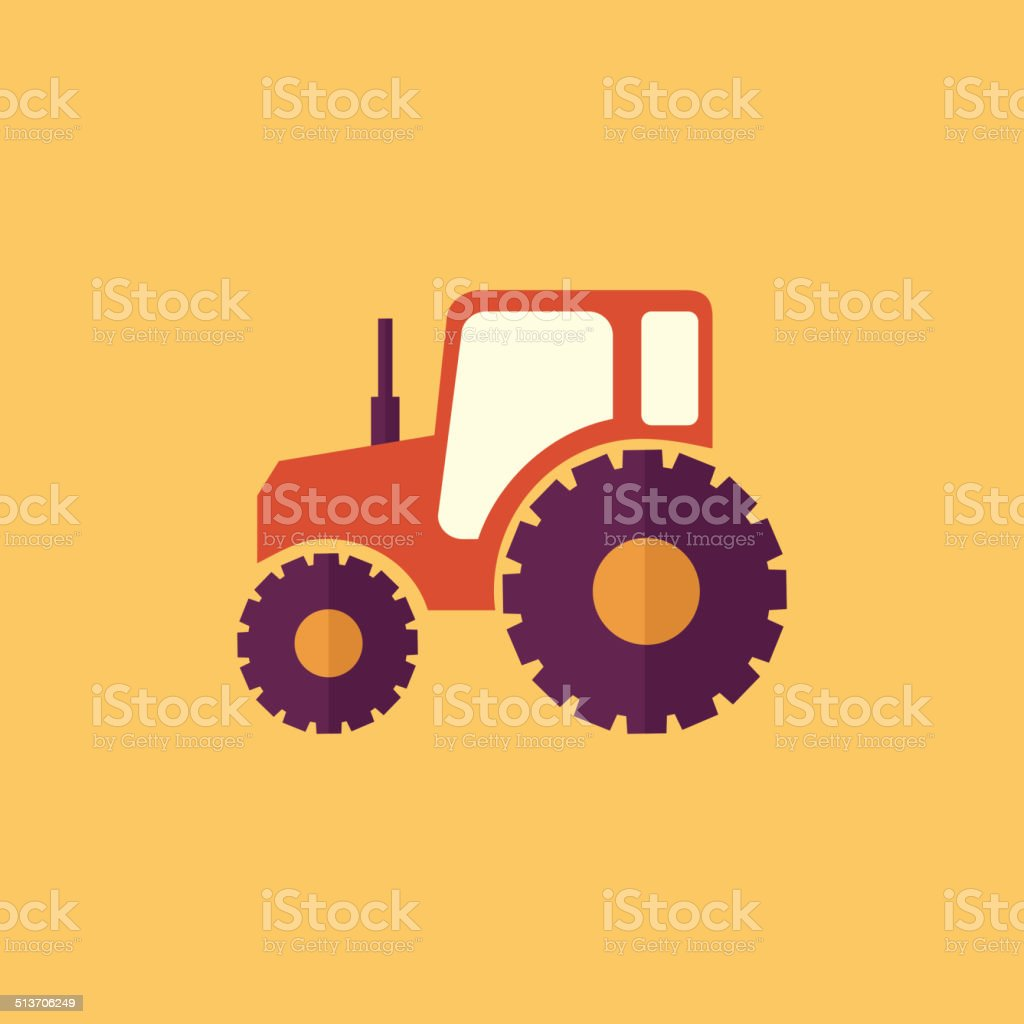 Tractor. Transportation Flat Icon vector art illustration
