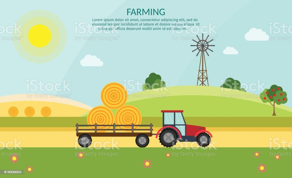 Tractor vector farm elements and ecology nature background vector art illustration