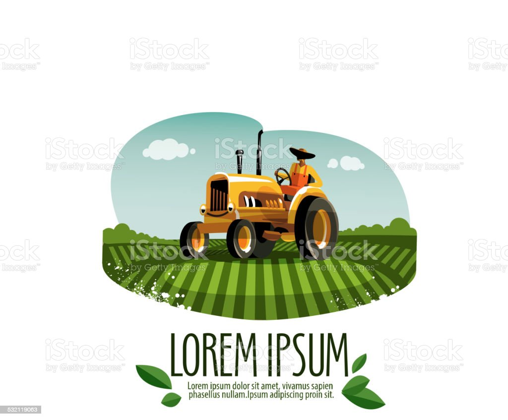 tractor vector logo design template. harvest or farm icon. vector art illustration