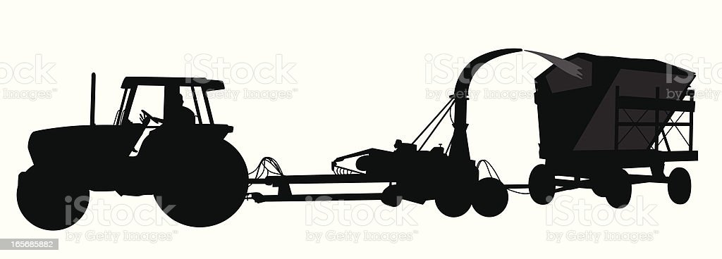 Tractor Vector Silhouette royalty-free stock vector art
