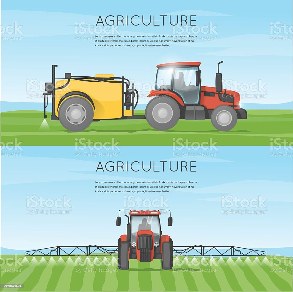 Tractor watering field. Agriculture. Agricultural vehicles. Harvesting, agriculture. Farm. vector art illustration