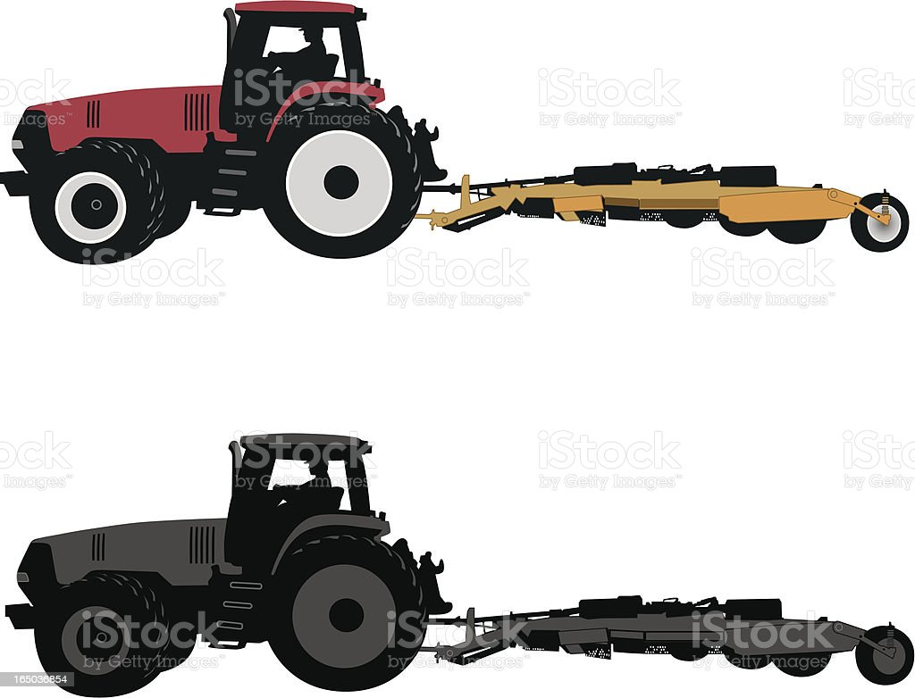 Tractor with mower royalty-free stock vector art