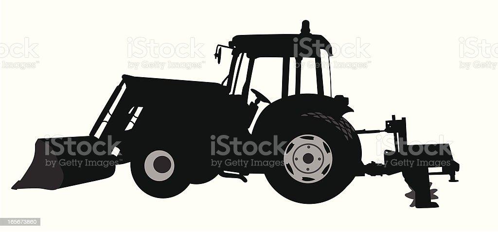 Tractor'n Shovel Vector Silhouette royalty-free stock vector art