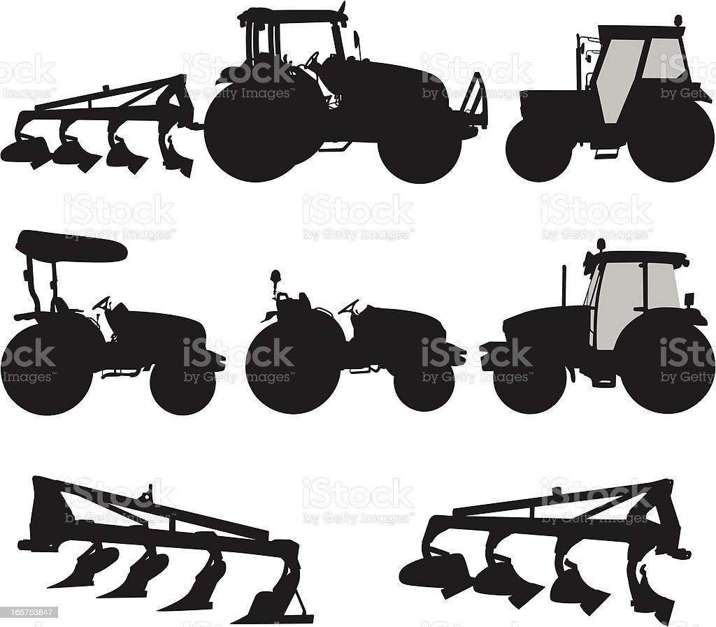 Tractors vector art illustration