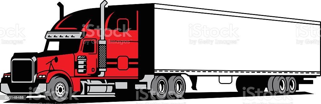 Tractor-Trailer vector art illustration