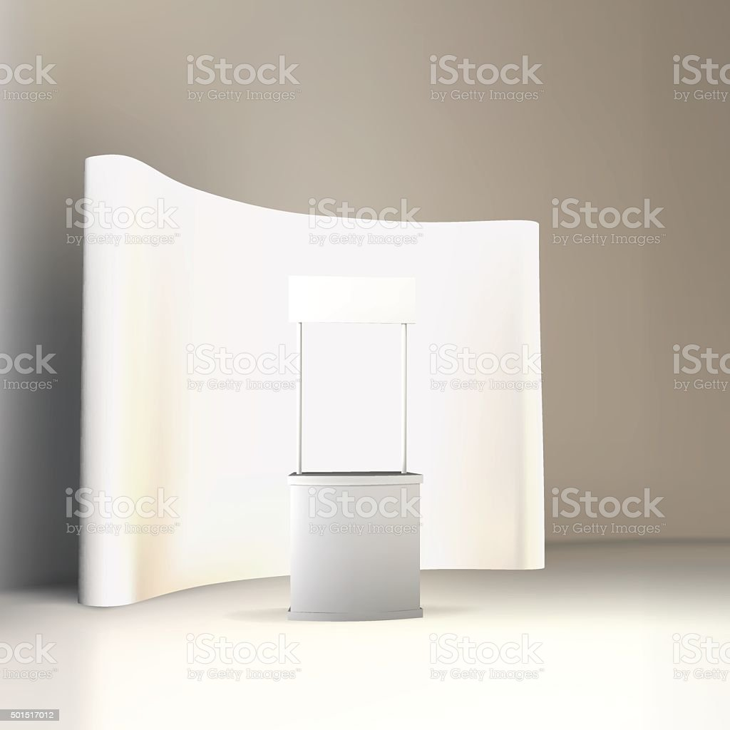Trade exhibition stand, Exhibition Stand round, 3D rendering visualization vector vector art illustration
